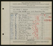 Entry card for Wands, Alfred J. for the 1926 May Show.