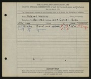 Entry card for Watkins, Mildred for the 1926 May Show.