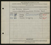 Entry card for Baird, Elnora Weaver for the 1926 May Show.