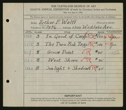 Entry card for Wolff, Arthur F. for the 1926 May Show.