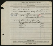Entry card for Zerlin, A. for the 1926 May Show.