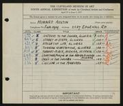 Entry card for Austin, Howard B. for the 1927 May Show.