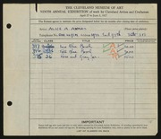 Entry card for Ayars, Alice A. for the 1927 May Show.