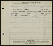 Entry card for Backus, Catherine for the 1927 May Show.