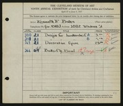 Entry card for Bates, Kenneth F. for the 1927 May Show.