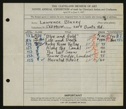 Entry card for Blazey, Lawrence for the 1927 May Show.