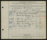 Entry card for Blazys, Alexander for the 1927 May Show.