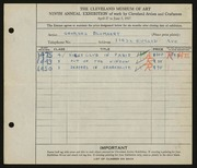 Entry card for Blomaert, Georges for the 1927 May Show.