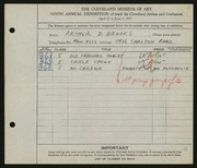Entry card for Brooks, Arthur D. for the 1927 May Show.