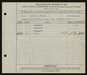 Entry card for Brough, Walter H. for the 1927 May Show.