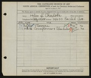 Entry card for Chudoba, Helen L. for the 1927 May Show.