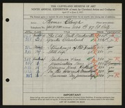 Entry card for Clough, Thomas for the 1927 May Show.