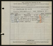 Entry card for Coe, Charles Martin for the 1927 May Show.