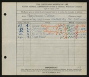 Entry card for Collins, Mary Susan for the 1927 May Show.