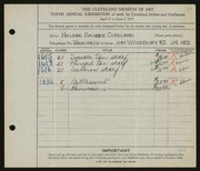 Entry card for Copeland, Helene Bauder for the 1927 May Show.
