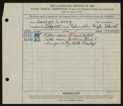 Entry card for Covey, George, and Rosenberg, Ruth for the 1927 May Show.