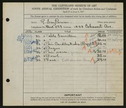 Entry card for Cowan, Reginald Guy for the 1927 May Show.