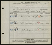 Entry card for Curry, Noble for the 1927 May Show.