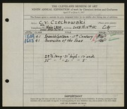 Entry card for Czechowski, Chester V. for the 1927 May Show.