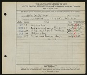 Entry card for De Gollier, Adele I. for the 1927 May Show.