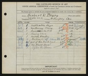 Entry card for Drury, Herbert R. for the 1927 May Show.