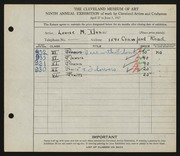 Entry card for Dunn, Louise Morrison for the 1927 May Show.
