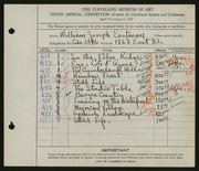 Entry card for Eastman, William Joseph for the 1927 May Show.