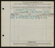 Entry card for English, Herbert C. for the 1927 May Show.