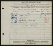 Entry card for Farmer, Franklin Birbeck for the 1927 May Show.