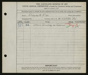 Entry card for Fish, Elizabeth for the 1927 May Show.