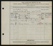 Entry card for Gellert, Emery for the 1927 May Show.