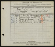 Entry card for Grant, Mabel S. for the 1927 May Show.