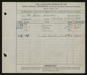 Entry card for Harmon, Walter Duane, and Cleveland School of Art for the 1927 May Show.