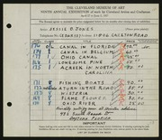 Entry card for Jones, Jessie Barrows for the 1927 May Show.