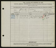 Entry card for Jorey, Paul for the 1927 May Show.