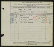 Entry card for Kalish, Max for the 1927 May Show.