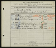 Entry card for Kelly, Grace Veronica for the 1927 May Show.