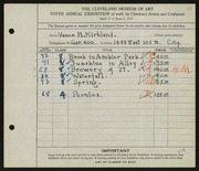 Entry card for Kirkland, Vance for the 1927 May Show.