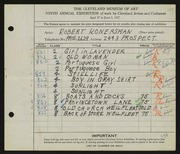 Entry card for Konersman, Robert for the 1927 May Show.