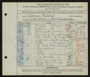 Entry card for Kubinyi, Kalman for the 1927 May Show.