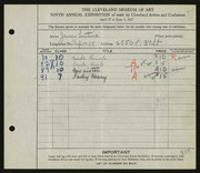 Entry card for Lentine, James for the 1927 May Show.