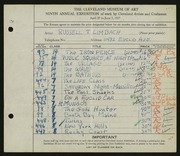 Entry card for Limbach, Russell T. for the 1927 May Show.