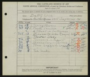 Entry card for Long, Elizabeth French for the 1927 May Show.
