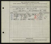 Entry card for McGrath, Anthony for the 1927 May Show.
