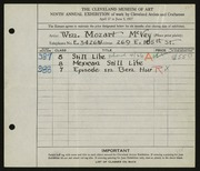 Entry card for McVey, William Mozart for the 1927 May Show.
