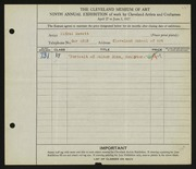 Entry card for Mewett, Alfred, and Cleveland School of Art for the 1927 May Show.