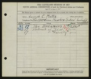 Entry card for Motto, Joseph C. for the 1927 May Show.