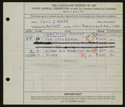 Entry card for Neff, Earl J. for the 1927 May Show.