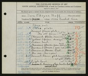 Entry card for Neff, Vera Odeyne for the 1927 May Show.