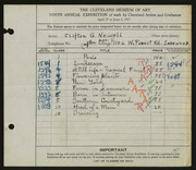 Entry card for Newell, Clifton for the 1927 May Show.